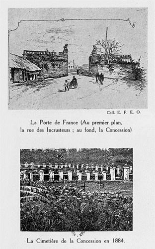 010.Cửa Pháp quốc ở phía trước khu Nhượng địa (trên) và nghĩa địa của khu Nhượng địa năm 1884 (dưới).