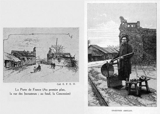 011.Cửa Pháp quốc (trái) và một người bán thịt lợn dạo bên cửa Pháp quốc (phải).