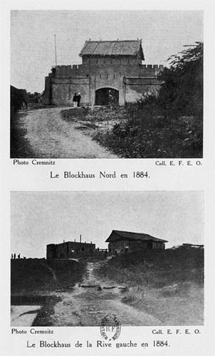 012.Lô cốt phía Bắc Hà Nội năm 1884 (trên) và lô cốt tả ngạn sông Hồng năm 1884 (dưới)