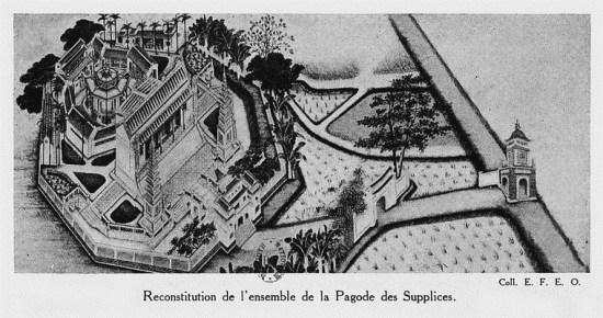 013.Tranh vẽ toàn cảnh chùa Khổ Hình - tên người Pháp gọi chùa Báo Ân bên bờ hồ Hoàn Kiếm