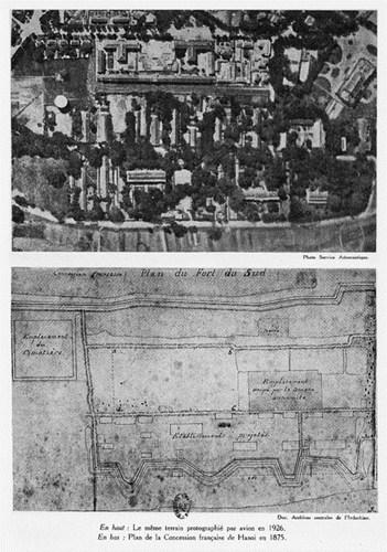 016.Mặt bằng Khu Nhượng địa Pháp tại Hà Nội năm 1875 (dưới) và không ảnh khu này chụp năm 1926 (trên)