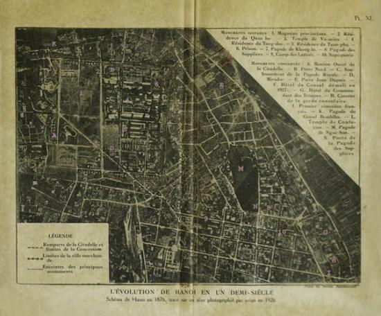 019.Bản đồ Hà Nội năm 1876 dựa trên một bản đồ không ảnh chụp năm 1826.