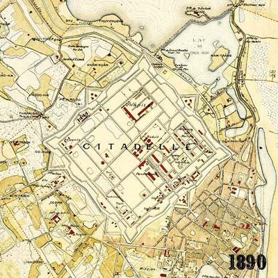20.Bản đồ Hà Nội năm 1890. Cấu trúc Hoàng Thành vẫn được giữ  nguyên vẹn