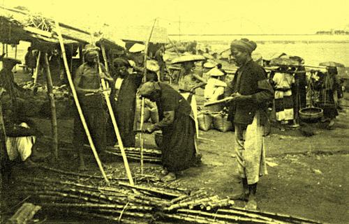 Hàng bán mía ở sông Hồng
