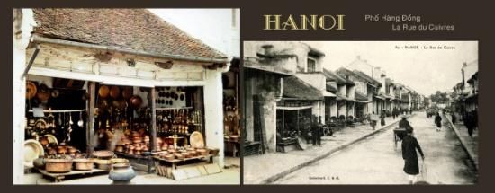 La Rue du Cuivres. Phố Hàng Đồng, Hà Nội, 1915. Thời Pháp thuộc hai phố Hàng Đồng và Bát Sứ thuộc phố Rue des Tasses (phố Hàng Chén). Ngày xưa đây là nơi cung cấp chế tác các sản phẩm từ Đồng cho cả kinh thành.
