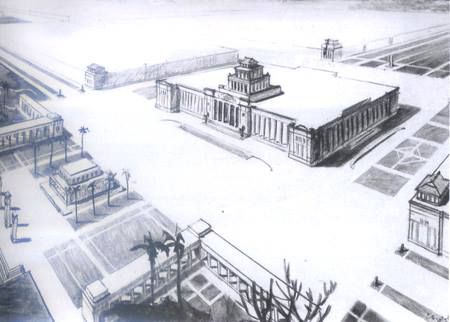 Một phương án thiết kế Hội trường Ba Đình (nhà quốc hội) khoảng trước 1963, mang ảnh hưởng của phong cách Đại lễ đường nhân dân Bắc Kinh.