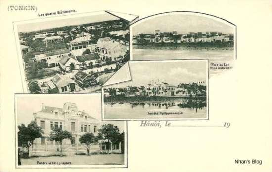 Phố Bên Hồ (Rue du lac) trên cùng bên phải. Bức ảnh chụp từ phía bên này hồ Hoàn Kiếm.