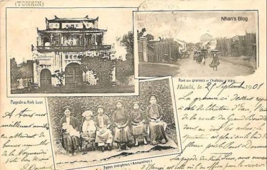Bưu ảnh ghép đề ngày 29 tháng 9 năm 1901 với bức ảnh phố Hàng Đậu (Rue des graines) cùng tháp nước cuối đường