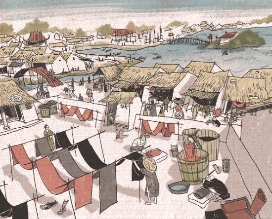 002.Nhuộm lụa ở phố Cầu Gỗ, thế kỷ 17.