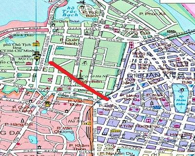 004.Đường Điện Biên Phủ (màu đỏ) trên bản đồ Hà Nội hiện nay.