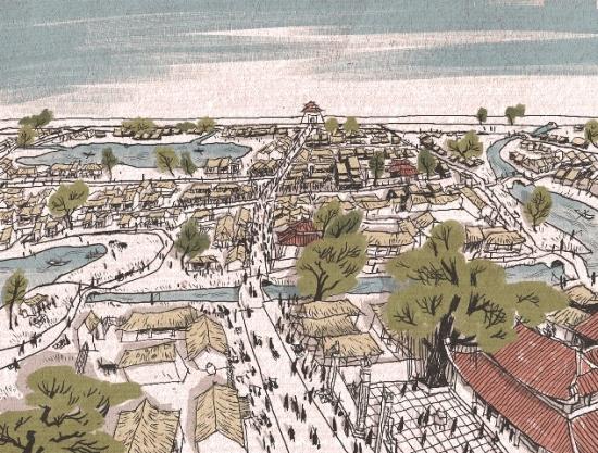 Chợ Cửa Đông: Dưới thời Lý - Trần, một ngôi chợ được hình thành ngay gần Cửa phía Đông thành (ở phía xa bản đồ). Phía trước mặt là đền Bạch Mã. Bên phải là sông Tô Lịch và cây cầu bắc ngang nơi hiện nay là phố Hàng Đường. Ngay từ thế kỷ 11, 4 ngôi chợ lớn đã họp theo phiên ở các cửa ô kinh thành để cung cấp các loại sản phẩm cho triều đình. Các thương nhân đến từ các làng xung quanh Hà Nội. Chợ quan trọng nhất trong số 4 chợ này là chợ Cửa Đông (sau này là khu phố buôn bán) và những thương nhân của chợ này dần dần đều đến định cư ở đây.