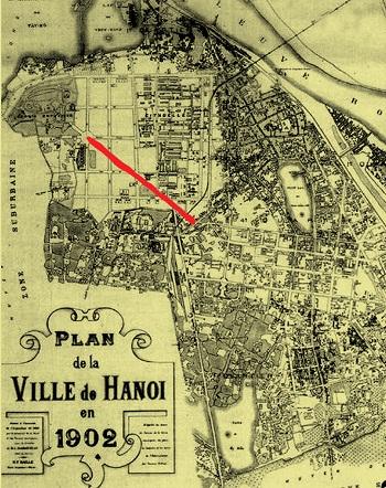 009.Đường Điện Biên Phủ (màu đỏ) trên bản đồ Hà Nội năm 1902.