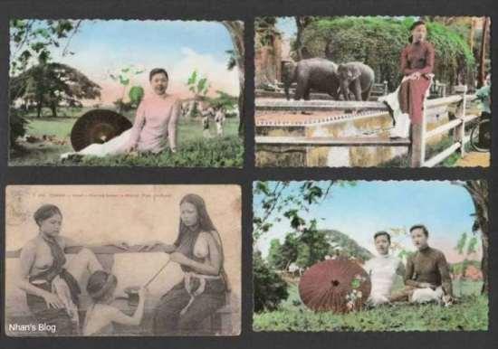 045Bức bưu ảnh miêu tả con đường một nửa thế kỉ đi qua trong trang phục phụ nữ Việt.