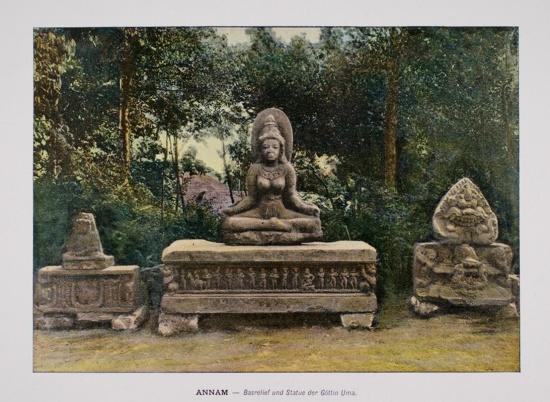 1898 Annam. Bas-Relief and Statue of the Goddess Uma