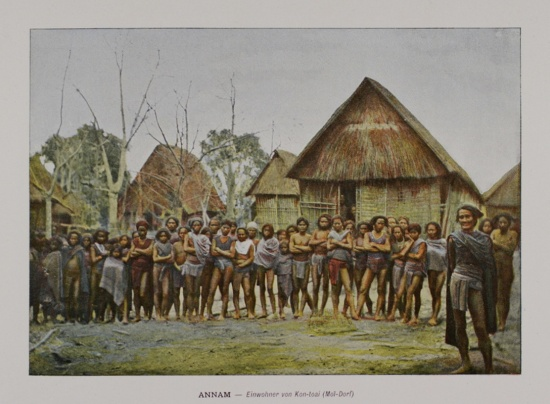 1898 FRENCH indo-china ANNAM. Moi Village and Residents of Kon-toai