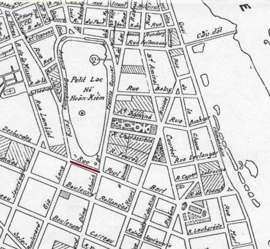 Vị trí phố Hàng Khay-1936 Hanoi Map