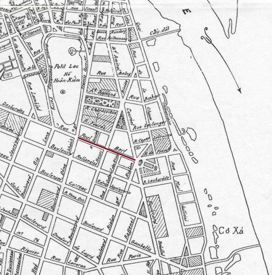 Vị trí phố Tràng Tiền trên bản đồ Hà Nội năm 1936