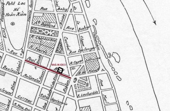 000.Vị trí phố Tràng Tiền trên bản đồ Hà Nội năm 1936