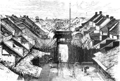 000b.Hà Nội với cổng phường chợ và nhiều nhà gạch chen lẫn nhà tre gỗ (Tư liệu hình ảnh do người Pháp thực hiện cuối thế kỷ 19.
