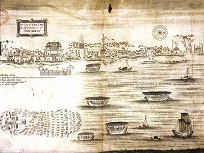 Kẻ Chợ thế kỷ 17, có hai thương cảng Hà Lan và Anh (S.Baron)