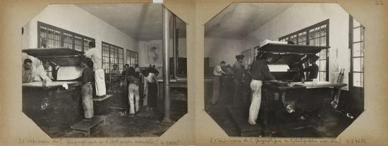 Hanoi (1896-1900) - L'imprimerie du S. Géographique en 2 photographies assemblée - Xưởng in của Sở Địa dư