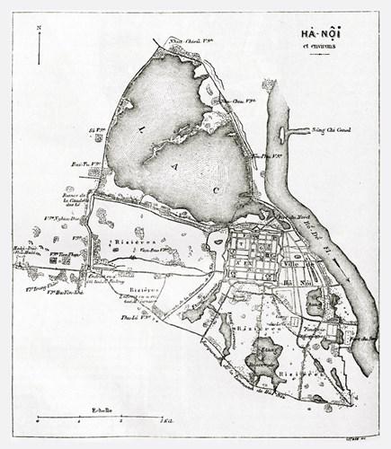 003a.Bản đồ Hà Nội năm 1873 của nhà địa lý Frederic Romanet du Caillaud.