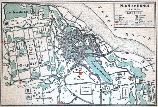 005.Bản đồ khu vực trung tâm Hà Nội năm 1873 do người Pháp ban hành.