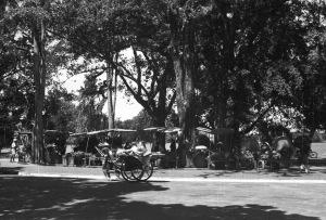 HANOI 1940 - Woman traveling in a rickshaw