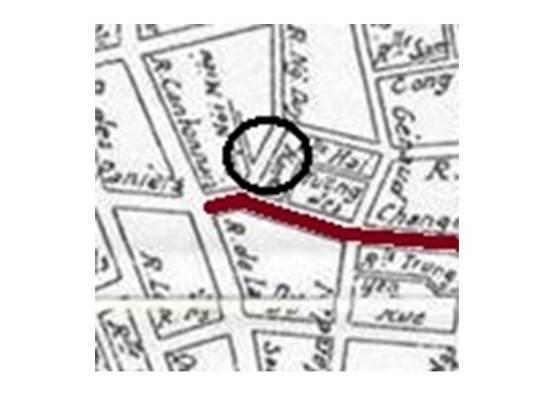 Bản đồ đoạn đầu phố Hàng Bạc-Hàng Đào năm 1936.
