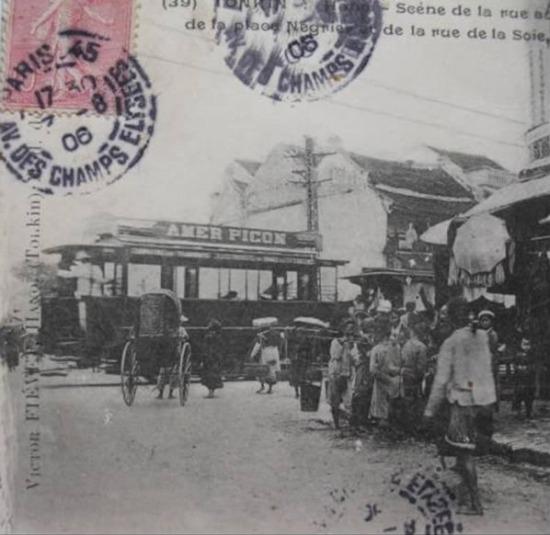 Nhật ấn ngày 7-8-1906. Tầu điện Amer Picon trên phố Hàng Ngang - Hàng Đào,