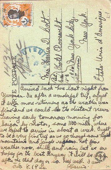 """Tấm bưu thiếp của một du khách nghỉ tại khách sạn năm 1926, trong đó ghi: """"Sáng sớm may tôi bắt đầu chuyến đi tới Sài Gòn bằng ô tô. Quãng đường dài khoảng 1.100 dặm, hi vọng chúng tôi sẽ đến được đó trong vòng một tuần""""."""