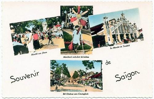 Từ trái sang phải, từ trên xuống dưới: 1 - Chợ hoa ở Sài Gòn. 2 - Cậu bé bán bóng. 3 - Chợ Tân Định. 4 - Đường lên cầu Ông Lãnh. Loạt bưu thiếp màu về Sài Gòn thời thuộc địa này được đăng trên trang Flickr của thành viên Manhhai.