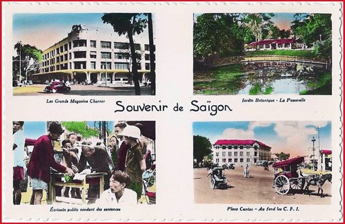 Từ trái sang phải, từ trên xuống dưới: 1- Tòa nhà Grands Magasins Charnes (Thương xá Tax sau này). 2 - Cầu trong Thảo Cầm Viên. 3 - Ông đồ bán chữ trên phố. 4 - Tòa nhà Cuniac cạnh chợ Bến Thành (nay là trụ sở của Công ty vận tải đường sắt Sài Gòn).