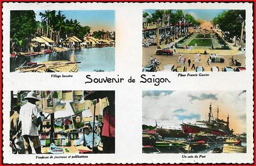 Từ trái sang phải, từ trên xuống dưới: 1 - Làng ven sông. 2 - Khu vực tượng đài Francis Garnierở công viên trước nhà hát Lớn. 3 - Quầy báo vỉa hè. 4 - Một góc cảng Sài Gòn.