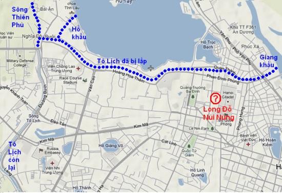 Bản đồ Hà Nội ngày nay đánh dấu dòng sông Tô Lịch bị lấp