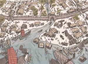 Bến cảng nằm ở nơi hợp lưu của sông Tô Lịch và sông Hồng. Cửa ô ngoài cùng bìa phải là vị trí Ô Quan Chưởng (phố Hàng Chiếu) ngày nay.