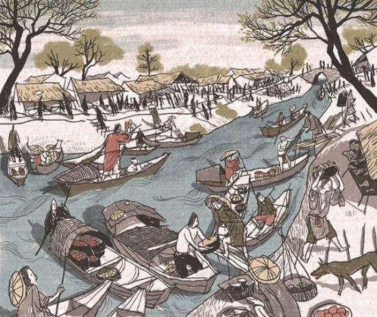 Cảnh họp chợ ở bến sông.