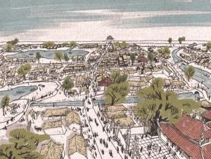 Chợ Cửa Đông. Tranh phục dựng của họa sĩ Nguyễn Thành Phong.