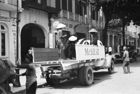 HANOI ca.1941 - Mobil Oil truck on city street 2