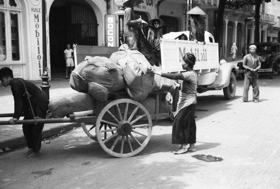 HANOI ca.1941 - Street scene with Mobil Oil truck