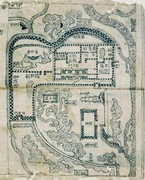 Họa đồ thành Thăng Long thời Lê với sông Nhị chảy ở phía đông, tháp Báo Thiên ở giữa, vương phủ chúa Trịnh chếch ở phía nam tháp, hồ Tây ở phía bắc và thành Thăng Long gồm hai vòng