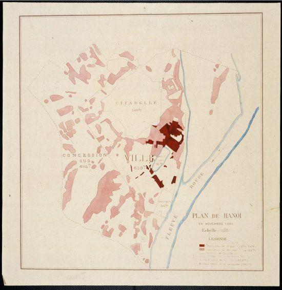 Hiện trạng HÀ NỘI tháng 11 năm 1890 chủ yếu là nhà tranh (màu hồng nhạt)