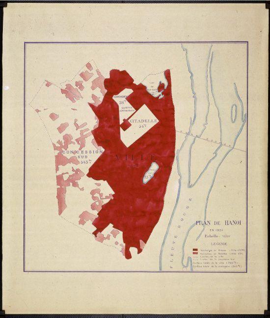 KẾ HOẠCH TẠI HÀ NỘI tháng 11 năm 1890 cho việc xây dựng đô thị bởi nhũng nôi nhà kiên cố (màu đỏ sẫm).