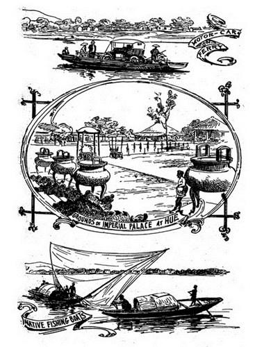 """Từ trên xuống dưới: Một chiếc ô tô được chở qua sông bằng đò/ Khoảng sân ở Hoàng thành Huế/ Thuyền đánh cá của dân địa phương. Ấn phẩm """"Đất, người An Nam qua tranh bút sắt"""" (Pen pictures of Annam and its people) được xuất bản ở Mỹ năm 1920, được số hóa và đăng tải trên trang web của thư viện ĐH Cornell, Mỹ."""