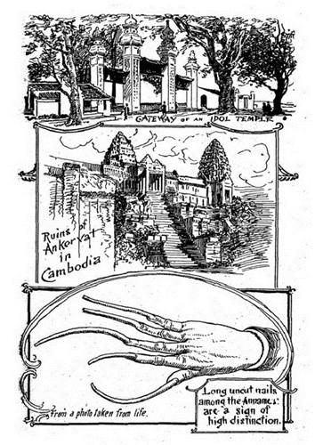 Từ trên xuống dưới: Cổng chùa Láng ở Hà Nội/ Phế tích Angkor wat ở Campuchia/ Để móng tay dài không cắt là một cách thể hiện đẳng cấp của dân An Nam.