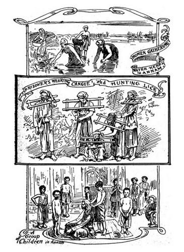 Từ trên xuống dưới: Những người phụ nữ nhặt rau muống trên ruộng/ Các phạm nhân bị đeo gông ở cổ/ Một nhóm trẻ em An Nam.