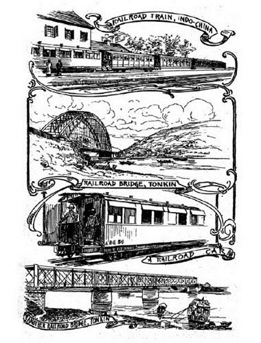 Từ trên xuống dưới: Đường sắt Đông Dương/ Cầu đường sắt ở Bắc Kỳ/ Một toa tàu/ Một cầu đường sắt khác ở Bắc Kỳ.