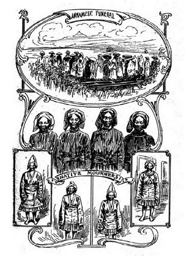Từ trên xuống dưới: Đám ma ở An Nam/ Những người khóc mướn bản địa.