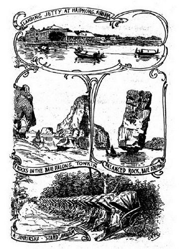 Từ trên xuống dưới: Cầu tàu ở cảng Hải Phòng/ Các đảo đá ở vịnh Hạ Long/ Những người kéo xe tay ở An Nam.