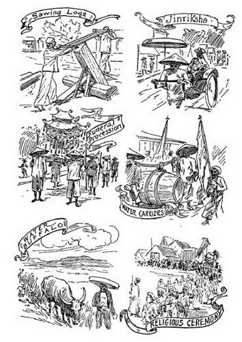 Từ trái qua phải, từ trên xuống dưới: Thợ xẻ gỗ/ Người kéo xe tay/ Cảnh đưa ma/ Vận chuyển nước/ Trâu/ Nghi lễ tôn giáo.